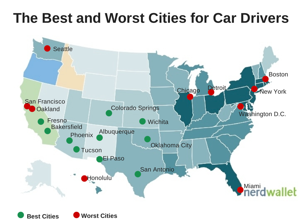Top five best and worst cities for drivers best cities for Top 5 places to live in usa