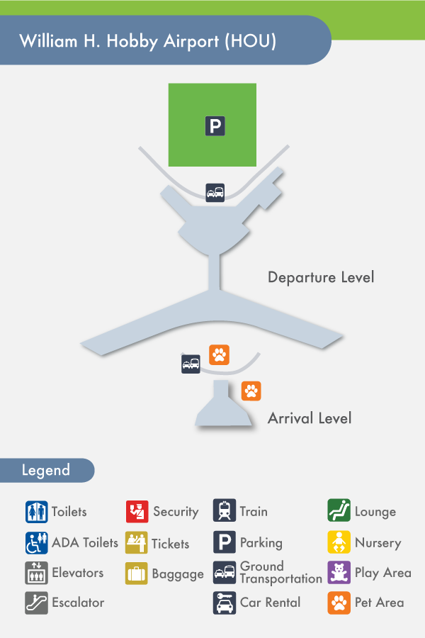 Houston Airport Hobby HOU Terminal Map - Houston terminal map