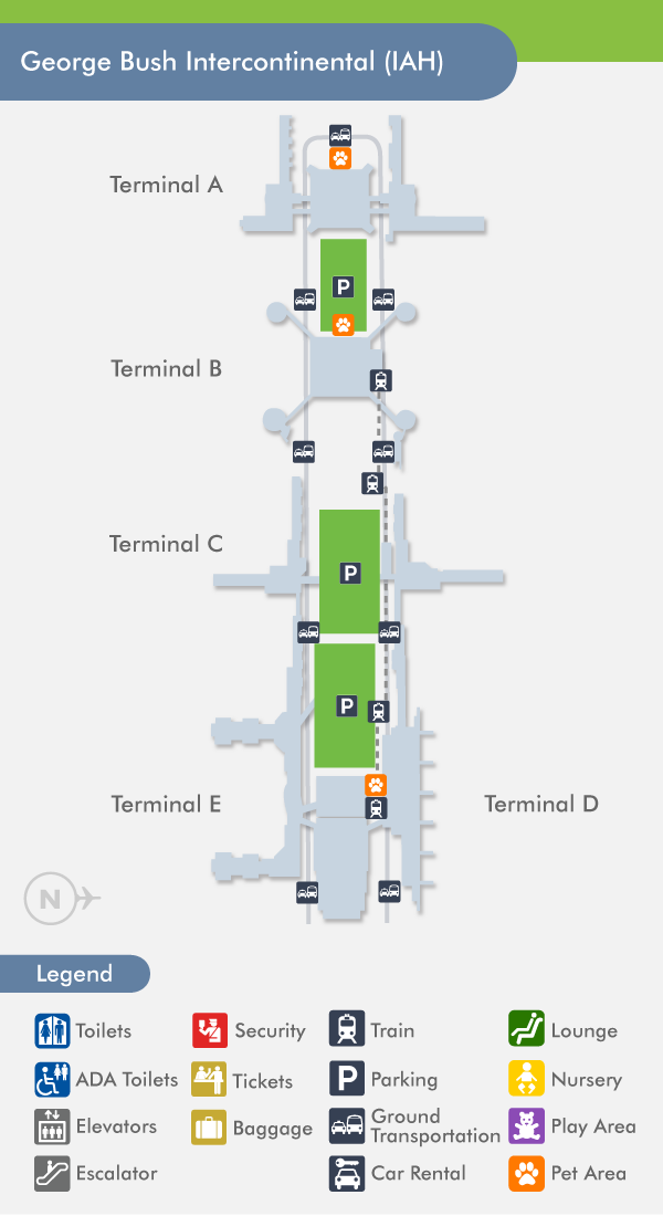 Houston Airport Intercontinental (IAH) Terminal Map