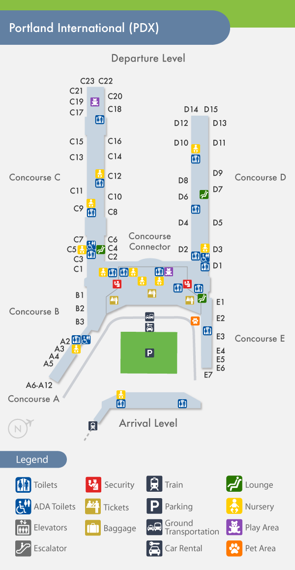 Portland Airport PDX Terminal Map