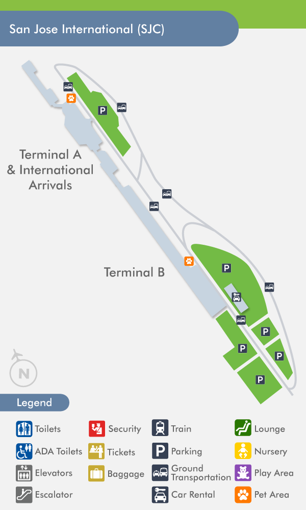 San Jose Airport SJC Terminal Map