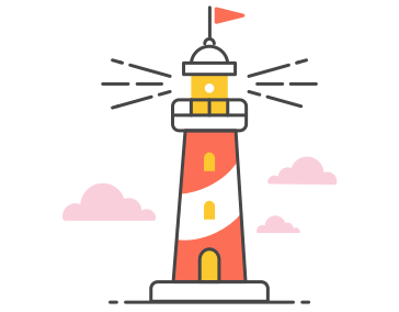 Lighthouse with a flag on top