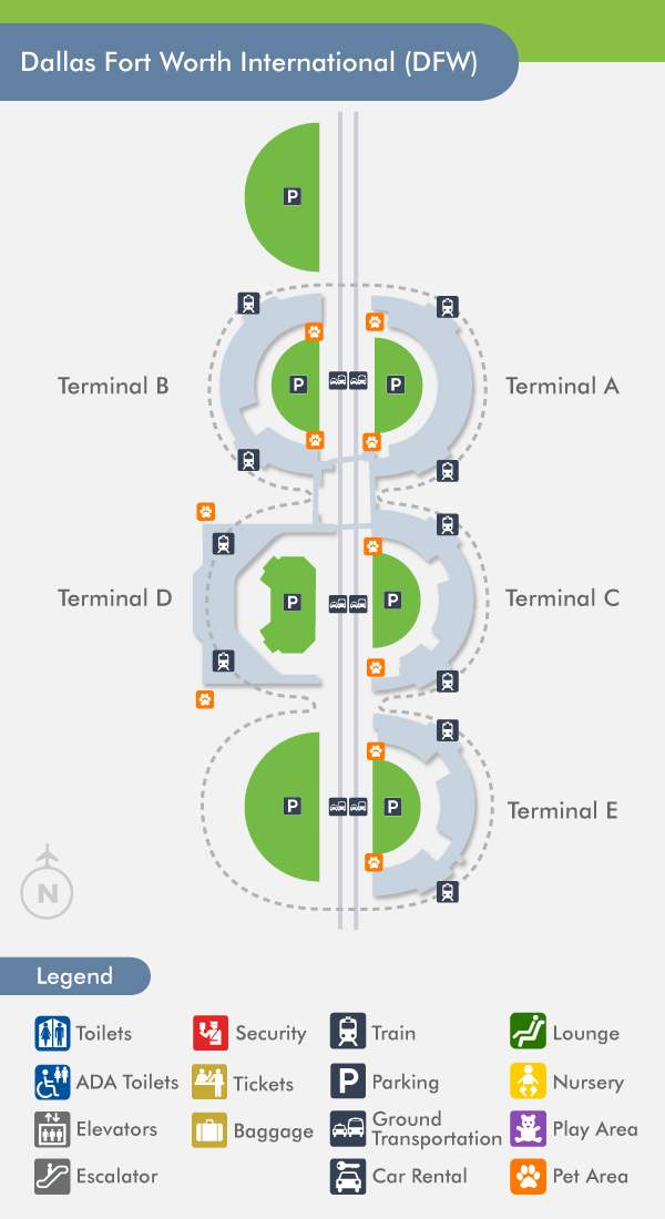 Dallas Fort Worth Airport Map DFW Airport (DFW) Terminal Map Dallas Fort Worth Airport Map
