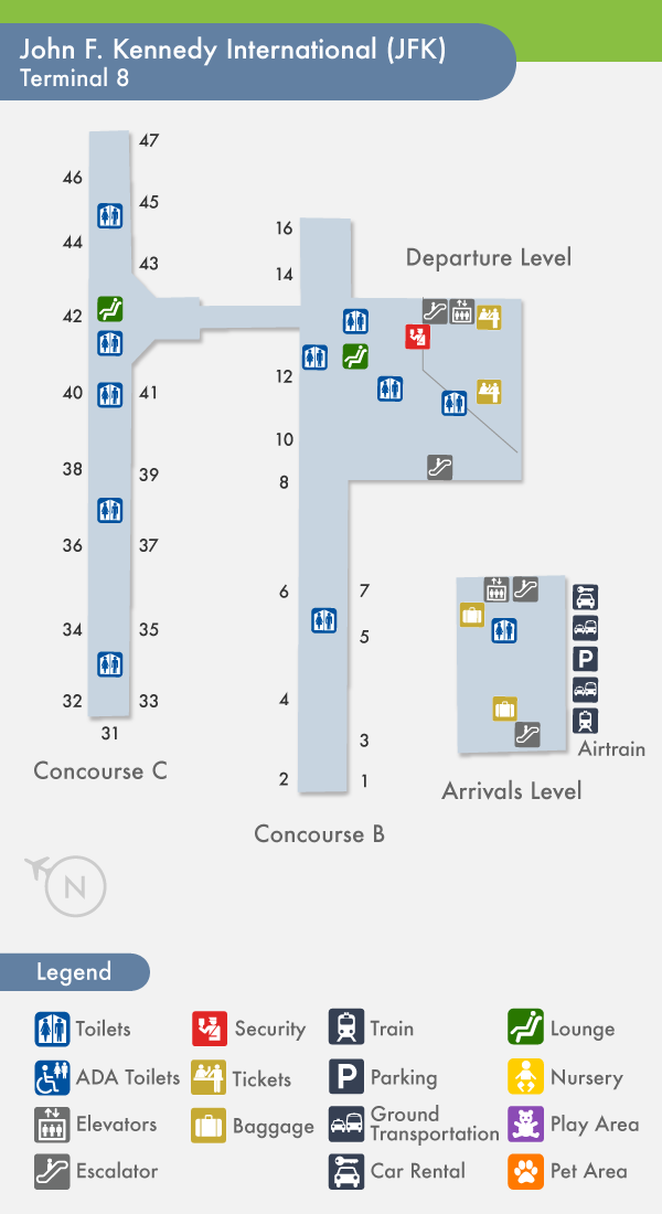 jfk map terminal 8 Aa Guide Jfk New York J F Kennedy International Airport Mct jfk map terminal 8